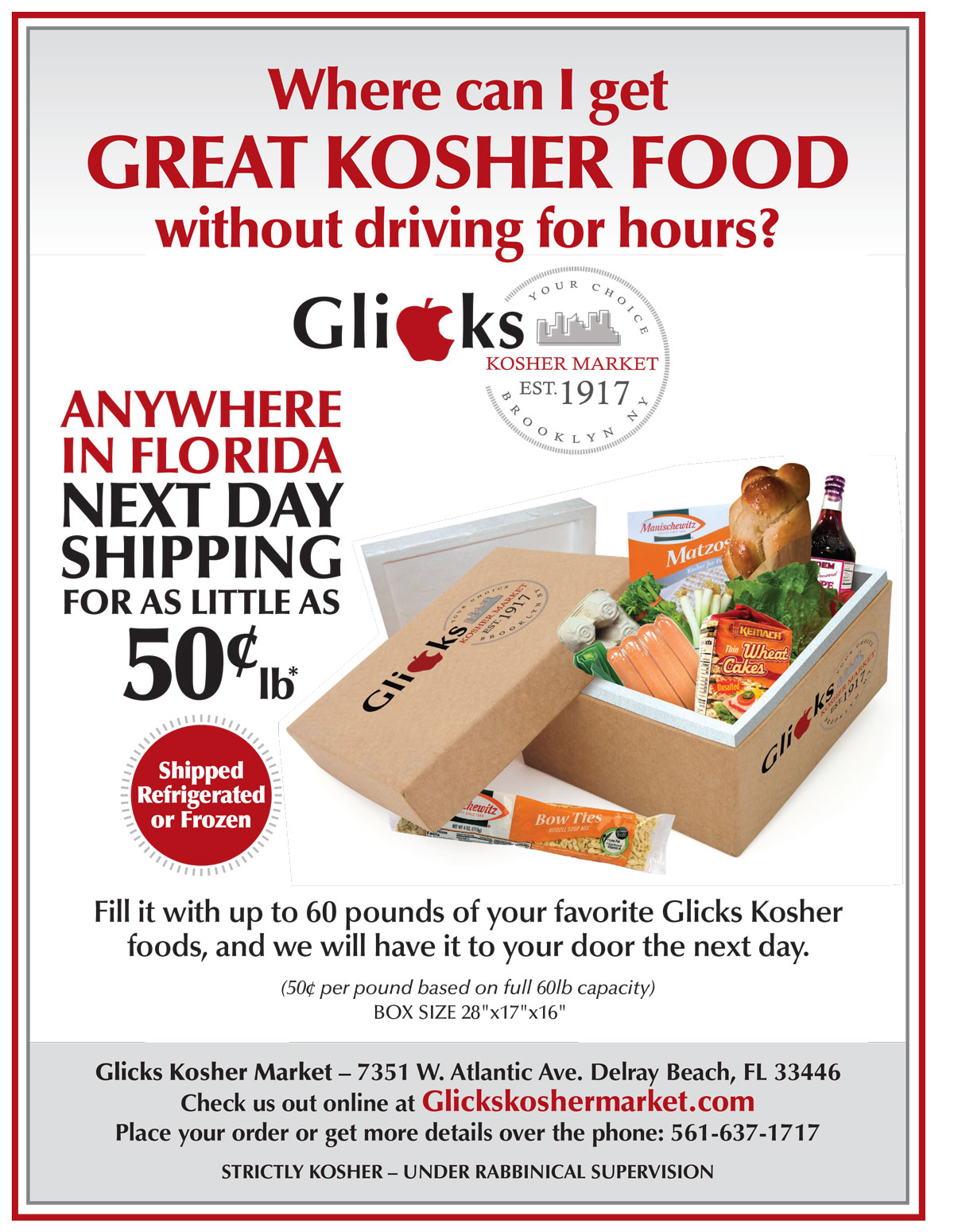 Glicks Kosher Overnight Food Delivery